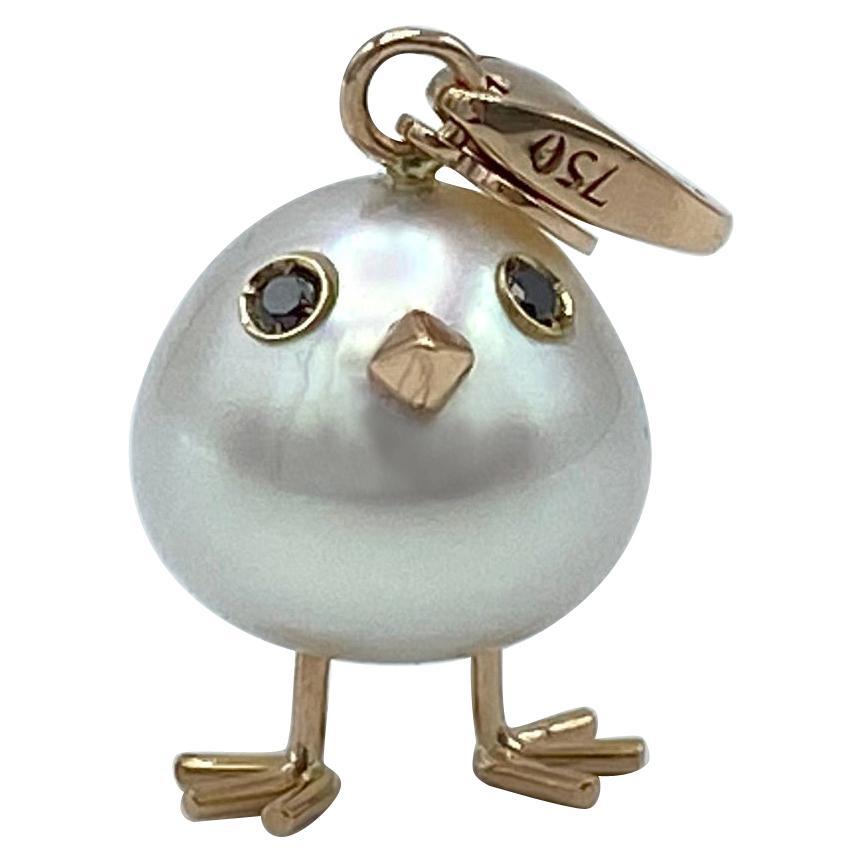 Chick Australian Pearl Black Diamond 18Kt Gold Pendant Necklace or Charm