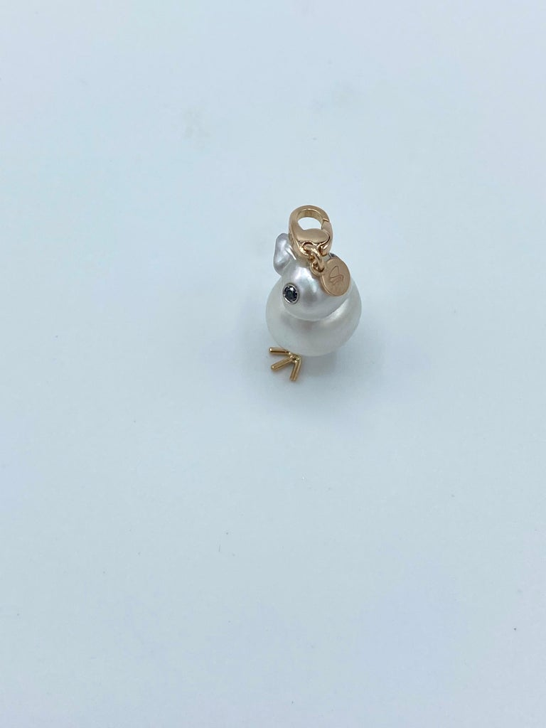 Chick Australian Pearl Black Diamond 18Kt Red Gold Pendant Necklace Charm In New Condition For Sale In Bussolengo, Verona