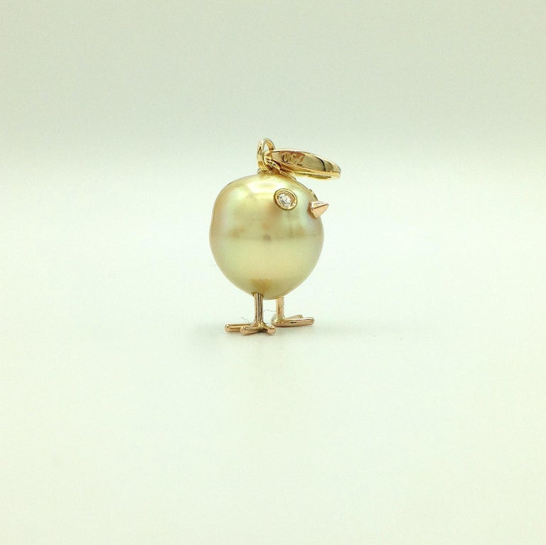 Artisan Chick Australian Pearl Diamond Yellow Red 18kt Gold Pendant/Necklace or Charm For Sale