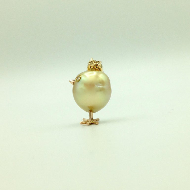 Chick Australian Pearl Diamond Yellow Red 18kt Gold Pendant/Necklace or Charm In New Condition For Sale In Bussolengo, Verona