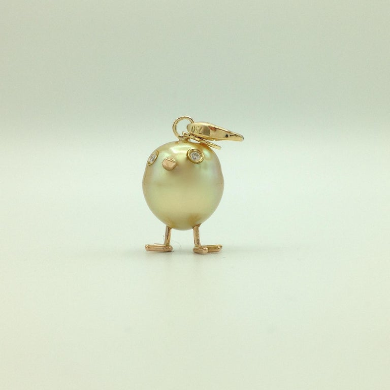 Women's Chick Australian Pearl Diamond Yellow Red 18kt Gold Pendant/Necklace or Charm For Sale