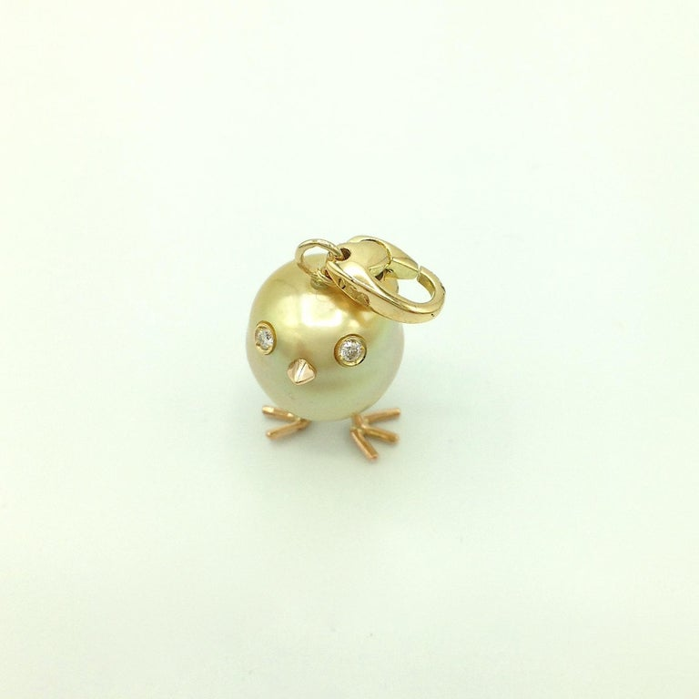 Chick Australian Pearl Diamond Yellow Red 18kt Gold Pendant/Necklace or Charm For Sale 2