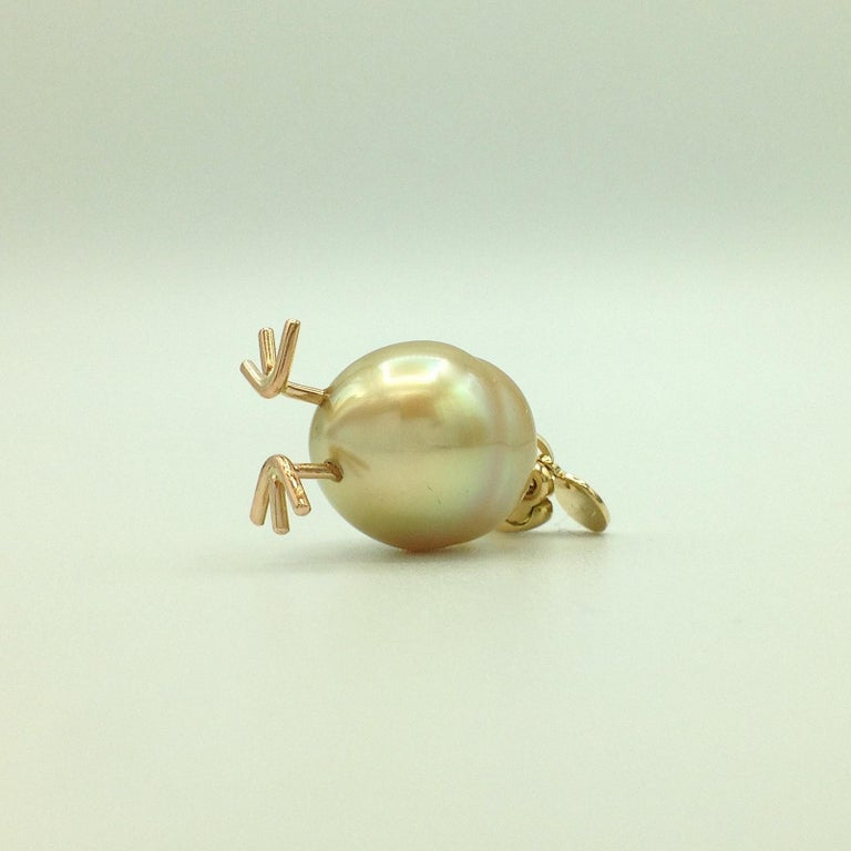 Chick Australian Pearl Diamond Yellow Red 18kt Gold Pendant/Necklace or Charm For Sale 3