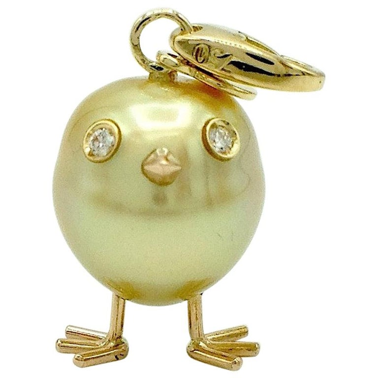Chick Australian Pearl Diamond Yellow Red 18kt Gold Pendant/Necklace or Charm For Sale