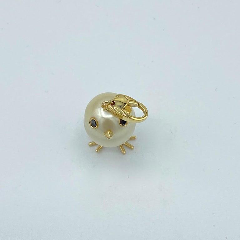 Chick Pearl Black Diamond 18 Karat Gold Pendant Necklace or Charm 3