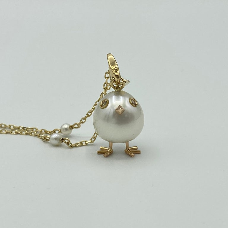Chick Pearl Diamond 18 Karat Gold Pendant Necklace or Charm Made in Italy In New Condition For Sale In Bussolengo, Verona