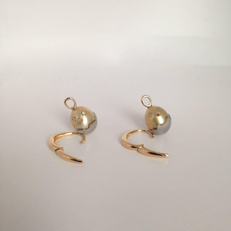 Chick White Diamond 18K Gold Pearl Drop Earrings For Sale 7