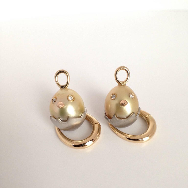 Chick White Diamond 18K Gold Pearl Drop Earrings For Sale 6