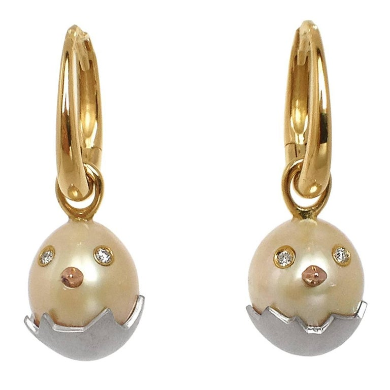 Chick White Diamond 18K Gold Pearl Drop Earrings For Sale