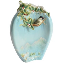 Chickadee Large Vase, Franz Collection Porcelain, Holiday Beginning 2007-2010