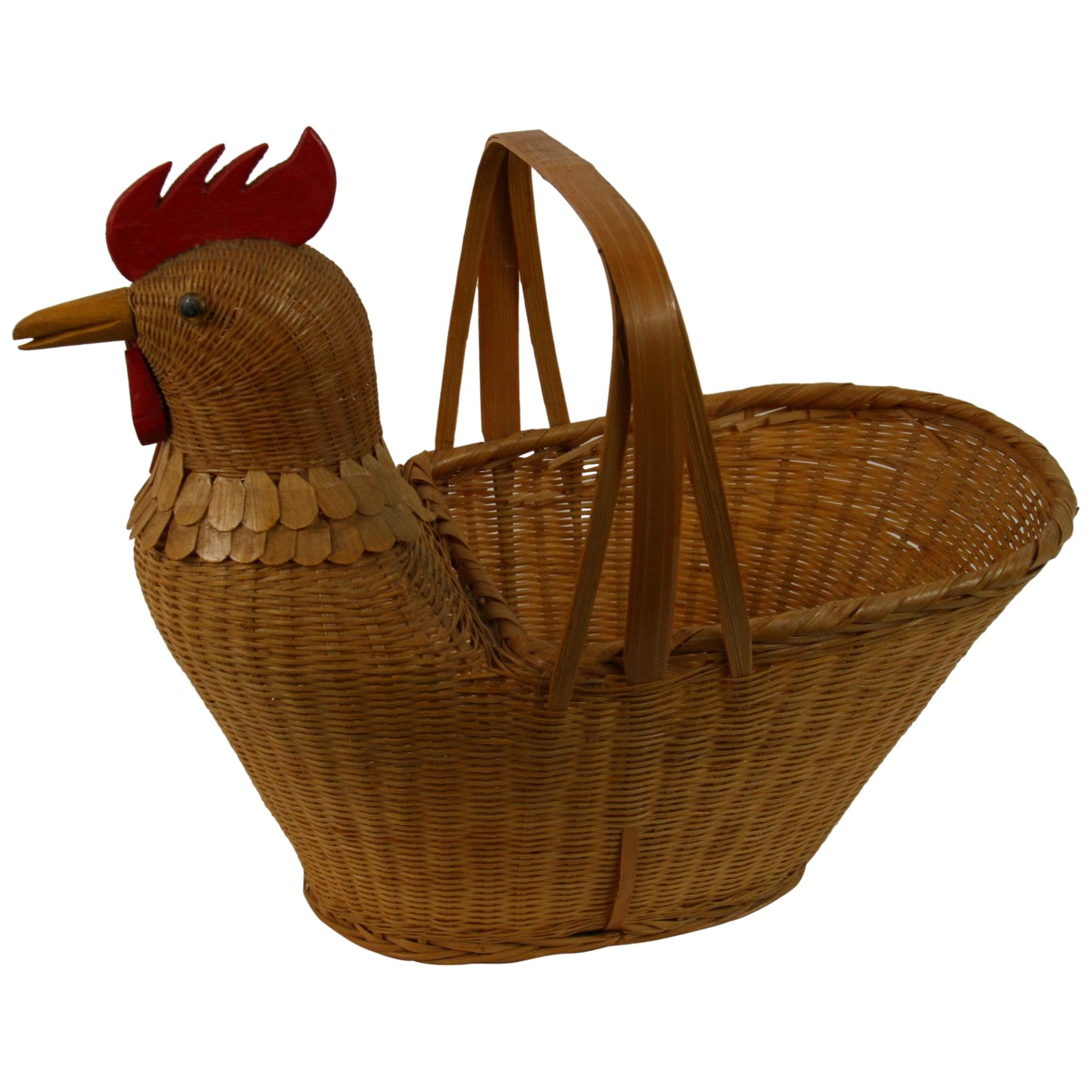 Chicken Egg Gathering Basket/Folk Art