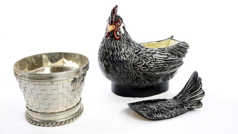 Chicken, Rooster and Chicks, Ceramic and White Metal 'Alpaca' For Sale 1