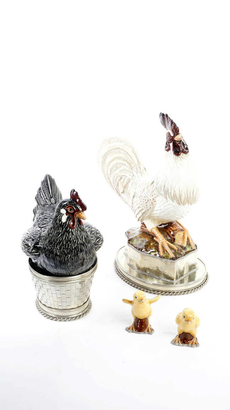 Chicken, Rooster and Chicks, Ceramic and White Metal 'Alpaca' For Sale 2