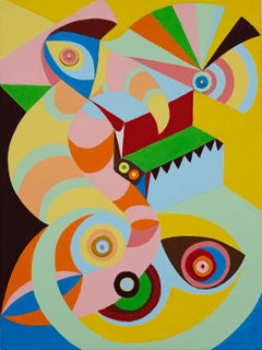 Mixed Media Geometric Abstract Painting by Chieko Murasugi - Looky Looky
