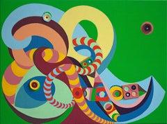 Organic Geometric Colorful Abstract Painting by Chieko Murasugi - Sweet Chariot