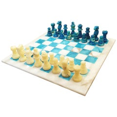 Chiellini Chess Board in Stone and Colored Alabaster Beige and Blue