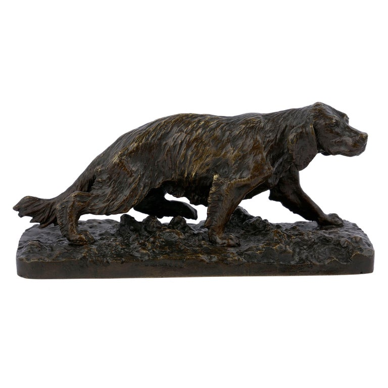 A very fine model of a French Spaniel, the quality of the casting is noteworthy with an exquisitely finished surface and fine chiseled detail throughout. Typical of Fratin's work, the model is beautifully textured with a great sense of movement and
