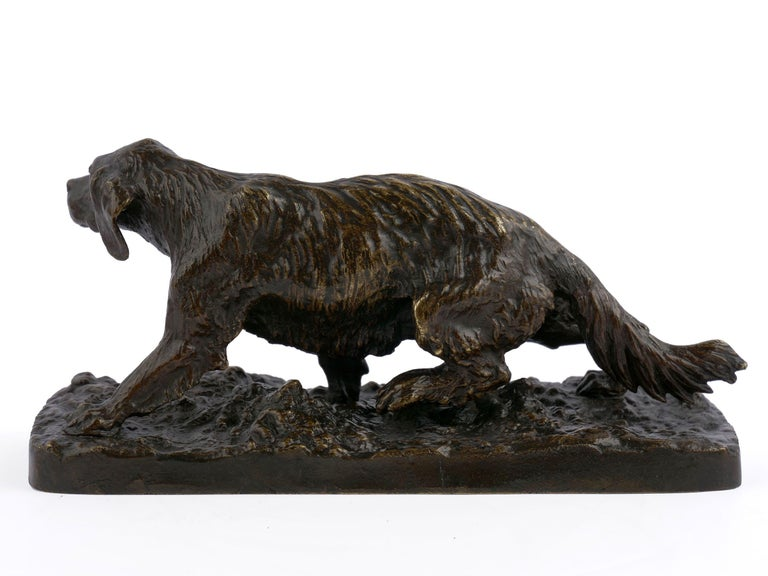 """French """"Chien Epagneul Francais"""" Bronze Sculpture by Christophe Fratin For Sale"""