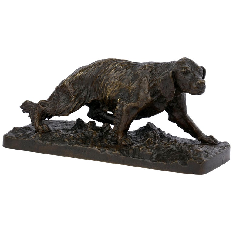 """Chien Epagneul Francais"" Bronze Sculpture by Christophe Fratin For Sale"