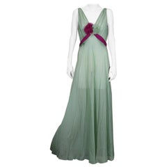 Chiffon Art Deco Celadon and Fuschia Gown and Bolero