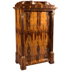 Chiffonier and Commode in Biedermeier Style, Exotic Indian Rosewood Veneer