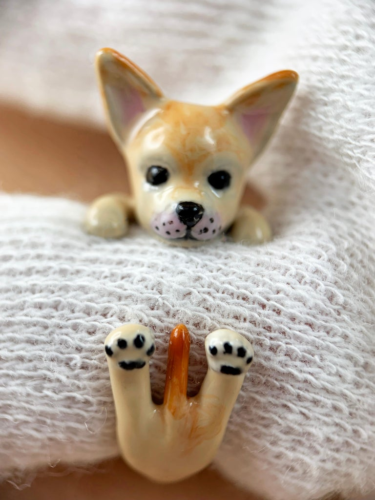 Ring made in sterling silver 925 featuring a Chihuahua,  thanks to amazing hand enamel life-like features is vividly rendered. It is also possible depict your dog just sending me a few photos of her or him.  All AVGVSTA jewelry is new and has never