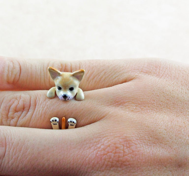 Women's or Men's Chihuahua Dog Sterling Silver 925 Enamel Customized Ring For Sale