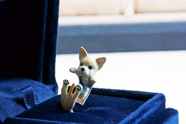 Chihuahua Dog Sterling Silver 925 Enamel Customized Ring For Sale 2