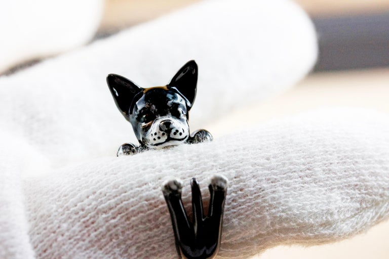 Chihuahua Dog Sterling Silver 925 Enamel Customized Ring For Sale 4