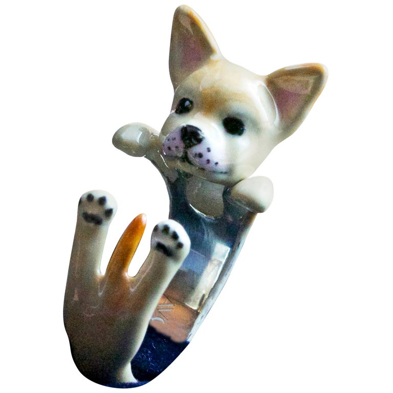 Chihuahua Dog Sterling Silver 925 Enamel Customized Ring For Sale