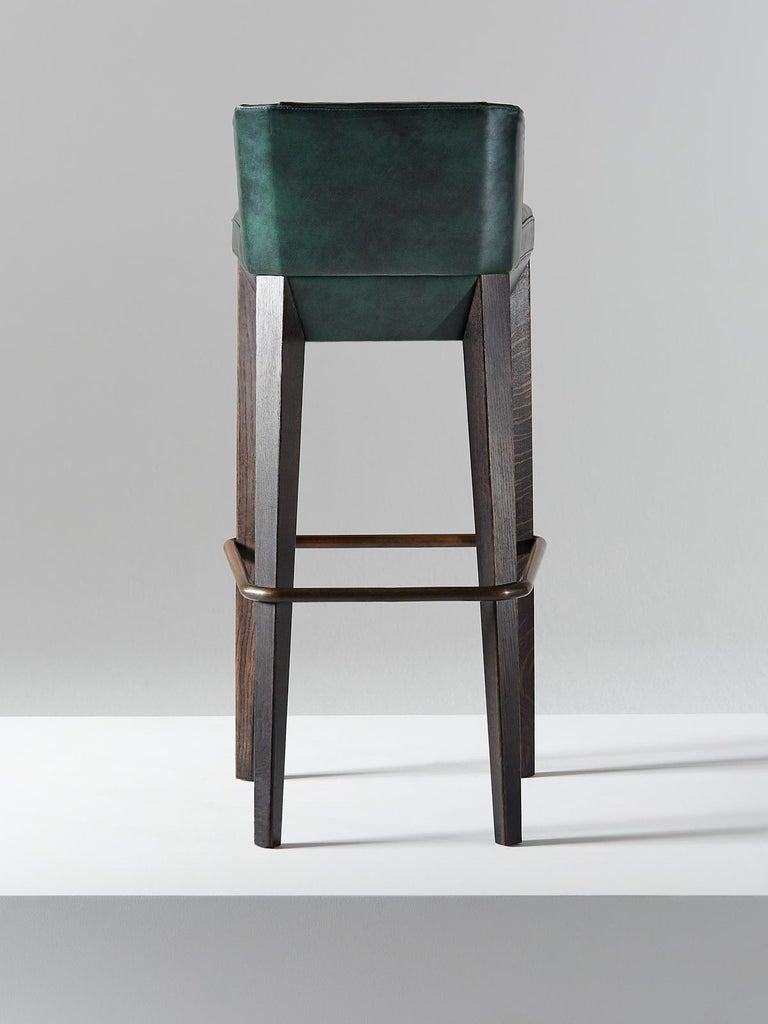 British And Objects Chilcomb Bar Stool, Leather Upholstery, Oak and Copper Foot Rail For Sale