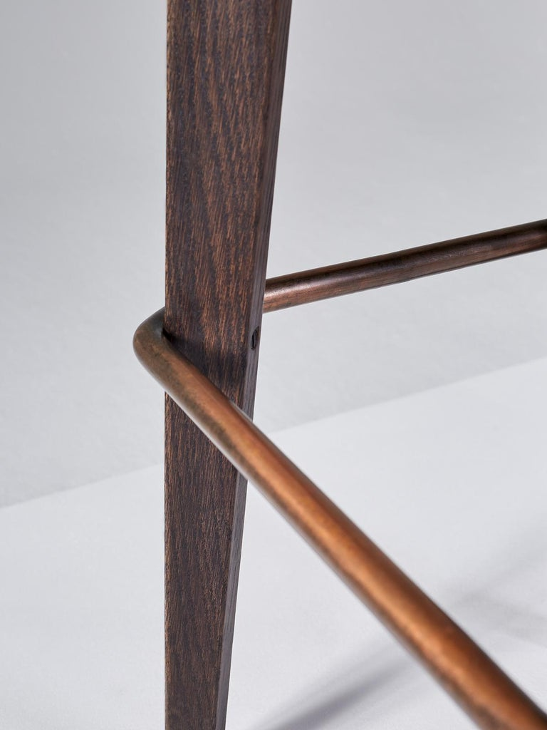 And Objects Chilcomb Bar Stool, Leather Upholstery, Oak and Copper Foot Rail In New Condition For Sale In London, Greater London