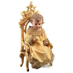 Child Jesus on Throne, Wood, Textile, Metal, Etc., Spain, 19th Century
