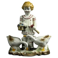 Child with Geese Porcelain Centerpiece, Italy, Mid-20th Century
