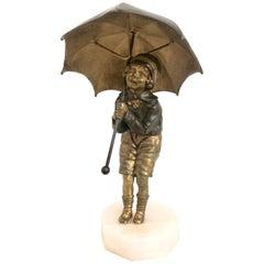 Child with Umbrella, Bronze Sculpture by D. H. Chiparus, Art Deco, France, 1920s