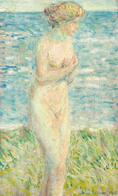 A Bather, Silver Beach Grass, 1918 Nude by Childe Hassam (1859-1935, American)