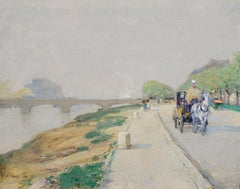 Childe Hassam - Banks of the Seine, impressionist, american, french, cart, horse