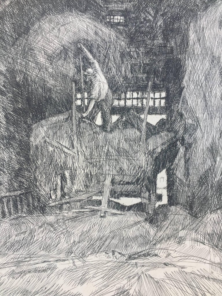 """CHILDE HASSAM  (1859 – 1935)             HAY BARN, 1920  (C.160)           Etching signed in pencil with cypher. Annotated in plate upper left  """"The            Whitcomb Farm Stratham N.H. / July 17, 1917 and also in the plate at the lower"""