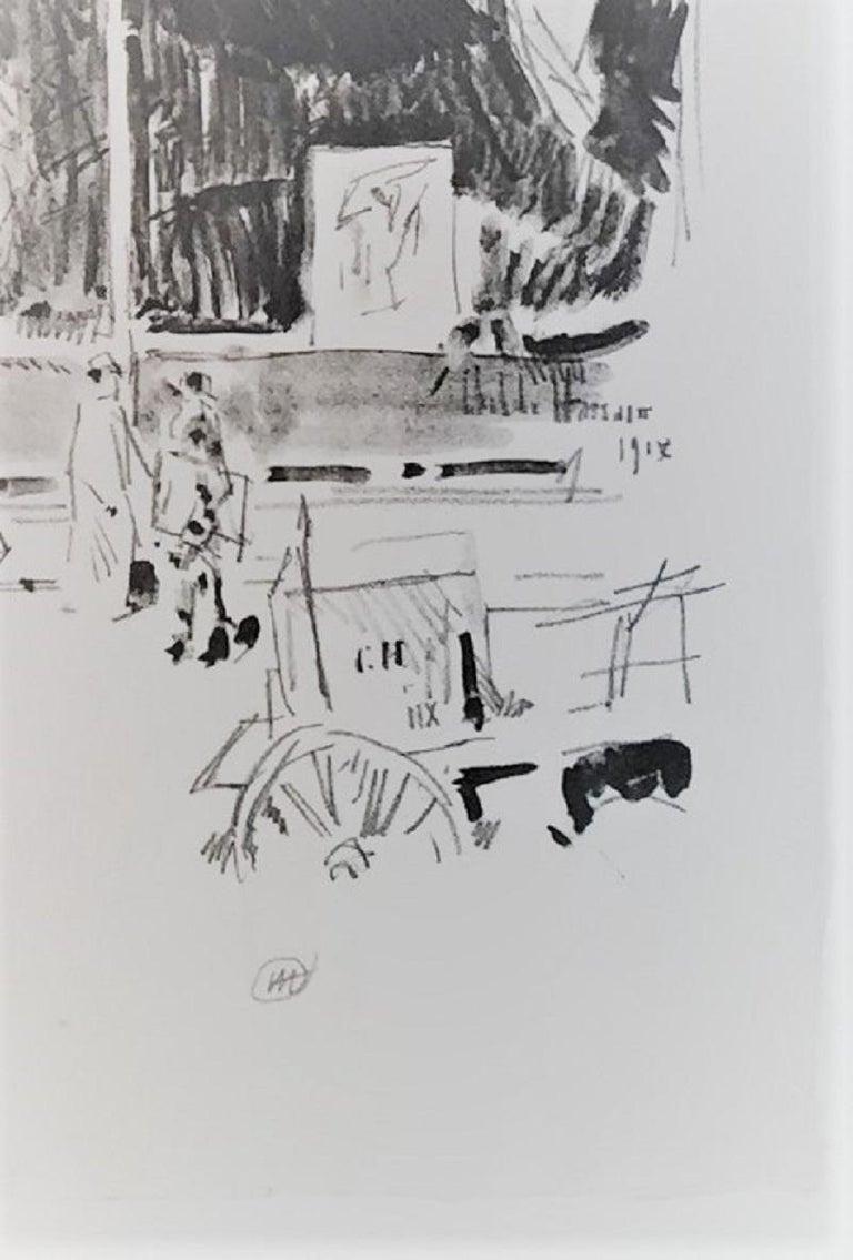Lafayette Street.  - Beige Landscape Print by Childe Hassam