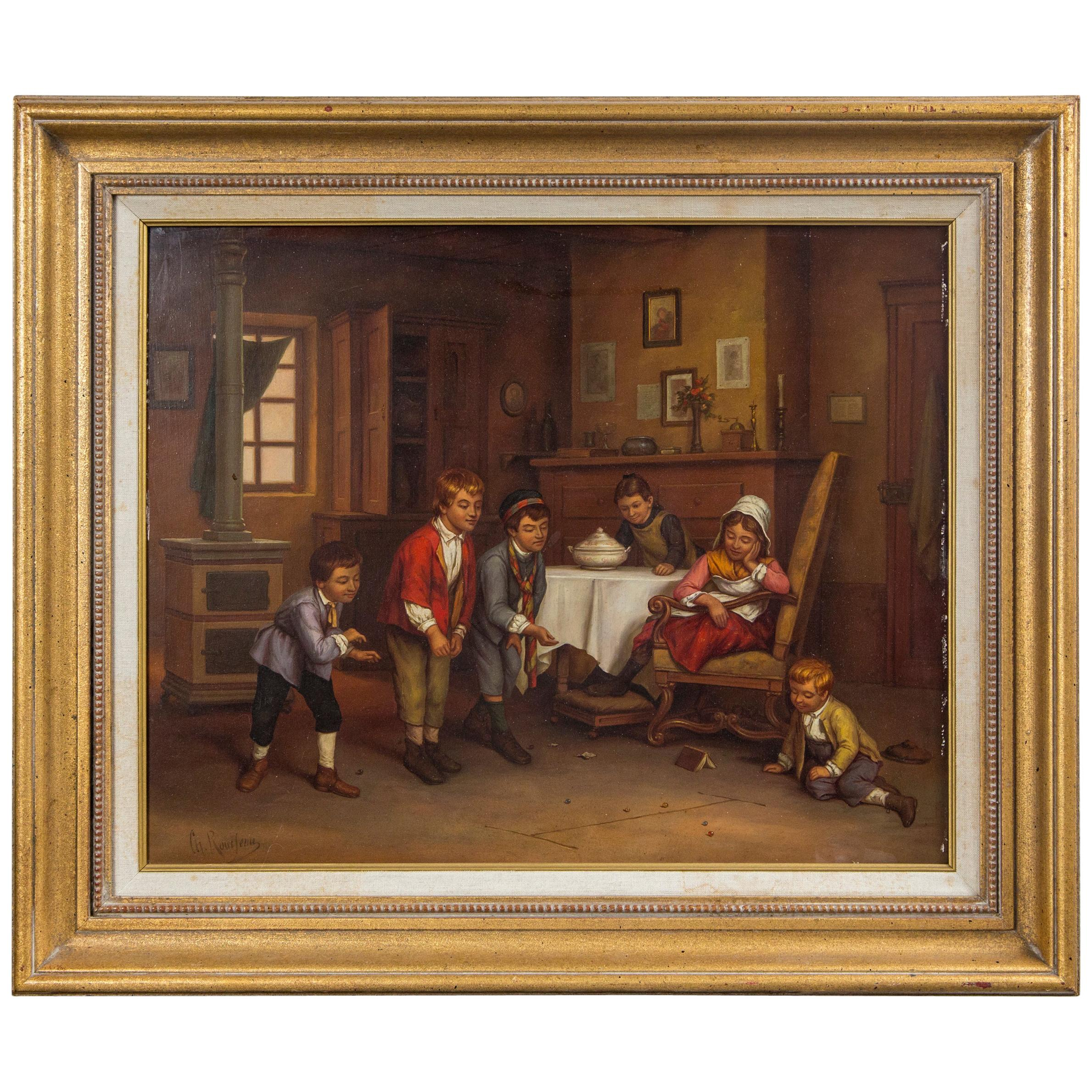 Children at Play in an Interior Signed Ch Rousseau