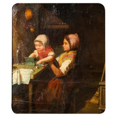 """""""Children Playing"""" Little Antique Painting"""