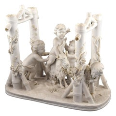 Children with Ram, Porcelain Biscuit, France, 19th Century with Mark