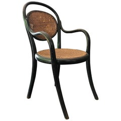 Childrens Armchair by Thonet Black Beech Stamped and Labeled