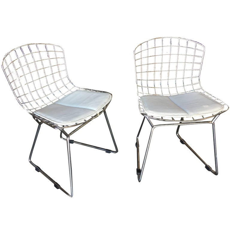 Chrome Childrens Bertoia Side Chair with White Seat Cushion by Knoll, Pair