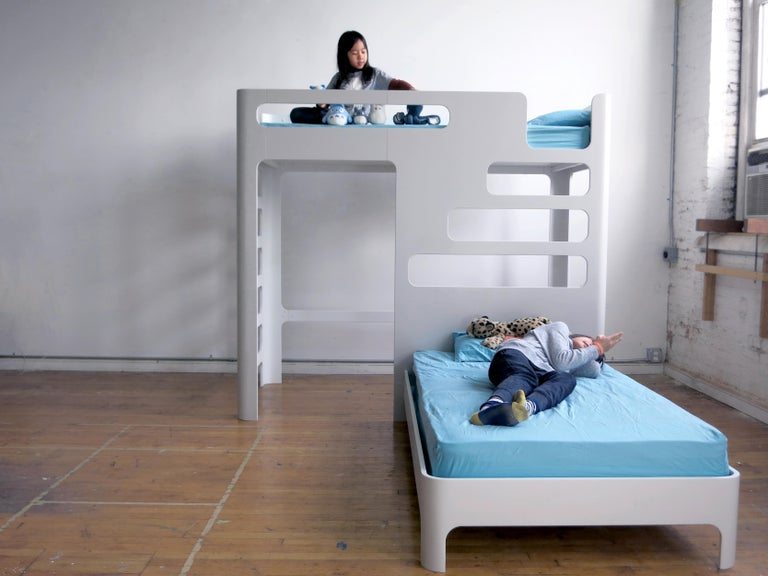 Lacquered Children's Bunk Bed, Loft with Below Deck Play/Study Area For Sale