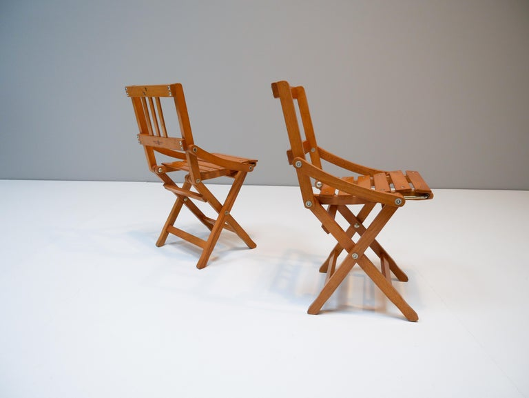 Mid-Century Modern Childrens Foldable Chairs Made in Italy, Brevetti Reguitti, 1950s For Sale