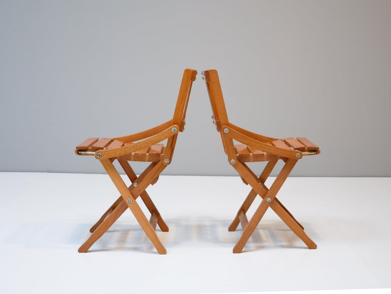 Lacquered Childrens Foldable Chairs Made in Italy, Brevetti Reguitti, 1950s For Sale