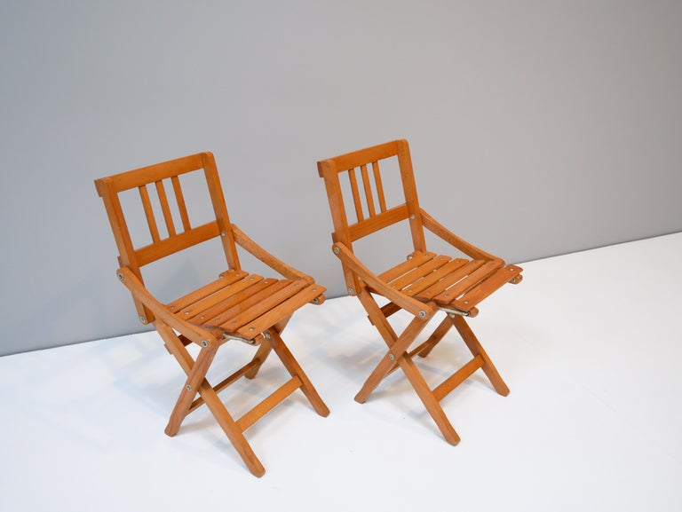 Childrens Foldable Chairs Made in Italy, Brevetti Reguitti, 1950s In Good Condition For Sale In Helsingborg, Skåne
