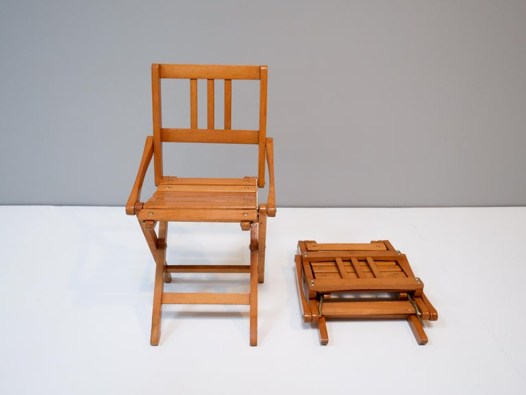 Mid-20th Century Childrens Foldable Chairs Made in Italy, Brevetti Reguitti, 1950s For Sale