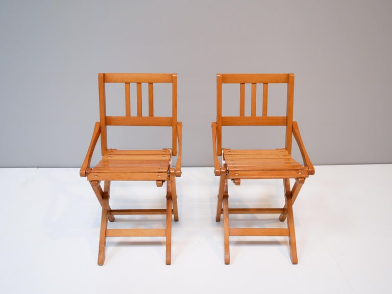Mahogany Childrens Foldable Chairs Made in Italy, Brevetti Reguitti, 1950s For Sale